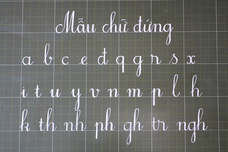 mẫu chữ viết trong trường tiểu học